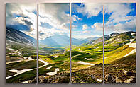 Декор настенный картина из частей печать на холсте Пейзаж Красивая долина Горы 120х60 из 4х частей