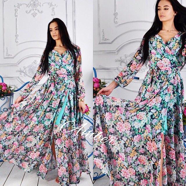 4e171803581 Женское шифоновое длинное платье с цветочным принтом  продажа