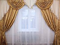 Комплект ламбрекен  со шторами на карниз 3м., цвет кофейный