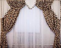 """Комплект ламбрекен  со шторами  из ткани """"Блэкаут"""" Код 063лш044, фото 1"""