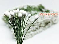 Тайские тычинки Белые Матовые Круглые 3 мм 25 шт/уп