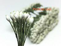 Тайские тычинки Бело-зеленые Матовые Капля 2 мм 25 шт/уп