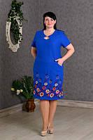 Платье новинка Майя  больших размеров из льна  нарядное в размерах 56, 58, 60, 62  цвета  электрик оптом
