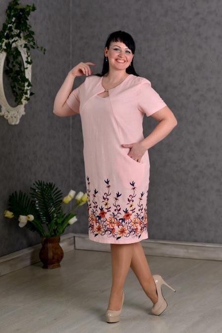 c44e410123b Платье новинка Майя больших размеров из льна нарядное 52- 62 цвета розовое  оптом и в розницу