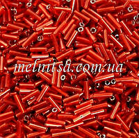 Стеклярус, 6мм, 10 г, цвет красный