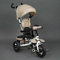 .Велосипед 3-х колёсный 6699 Best Trike (1) БЕЖЕВЫЙ, надувные колёса, поворотное сидение, фара, ключ зажигания