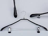 Плечики вешалки тремпеля металлический в силиконовом покрытии костюмный черного цвета, длина 44,5 см