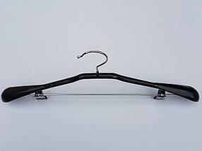 Плечики вешалки тремпеля металлический в силиконовом покрытии костюмный черного цвета, длина 44,5 см, фото 2