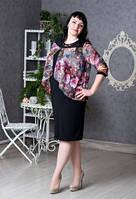 Платье новинка Мерелин  больших размеров красивое  в размерах   54, 56, 58, 60, 62  с цветочным принтом  оптом