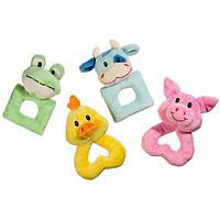 Karlie-Flamingo Puppy Toy КАРЛИ-ФЛАМИНГО кольцо игрушка для щенков и собак малых пород, лягушка, бычок, свинка, цыпленок, плюш
