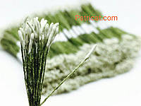 Тайские тычинки Белые Матовые Длинные 1 мм 25 шт/уп