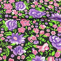 Ткань с розовыми и фиолетовыми цветами на черном фоне, ш. 150 см, фото 1