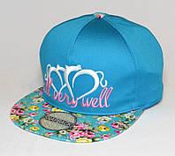 Кепка хип-хоп голубая с цветным козырьком и вышивкой All very well