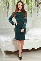 Платье с гипюром 2153 изумрудное