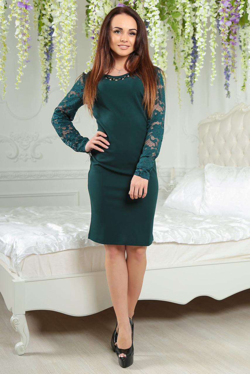 """Платье с гипюром 2153 изумрудное - Интернет-магазин """"Купи у нас!"""" в Одессе"""