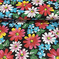 Ткань с разноцветными цветами на черном фоне, фото 1