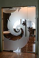 Распашная дверь с глухими частями (цельностеклянные конструкции)