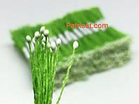 Тайские тычинки Белые на салатовой нитке Матовые Капля1 мм 25 шт/уп