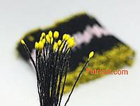 Тайские тычинки Желтые на черной нитке Матовые Капля 1 мм 25 шт/уп