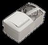 Выключатель ОП-2 + Розетка ОП-1EVA  з/к белая с крышкой