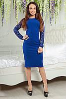 Платье с жемчугом 2176 электрик