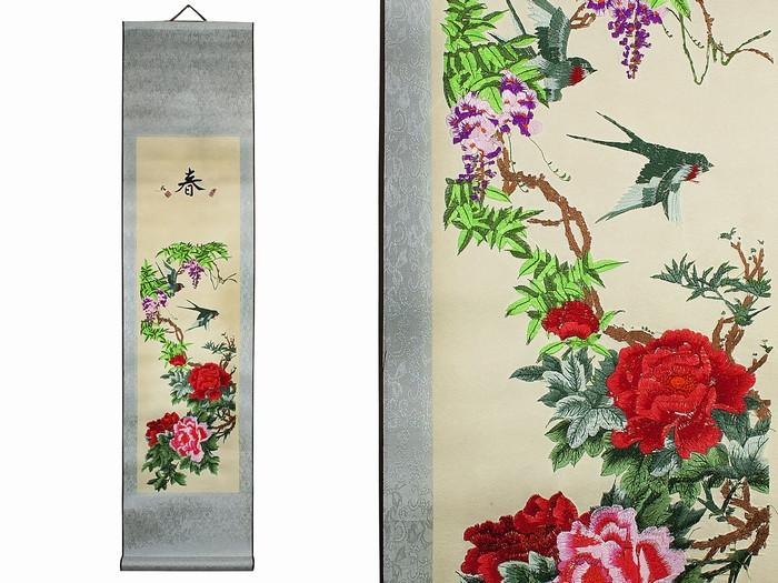 Панно красивые цветы Пионы с птичками