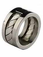 Мужское кольцо Honey (Хани) из нержавеющей стали. Вставка – деталь в форме цепочки.