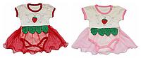 Боди-платье на девочку Клубничка Турция (56, 62, 68 см)