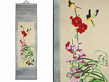 Свиток на стену Орхидея с птицами