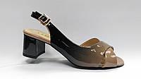 Лаковые босоножки на низком каблуке. Большие ( 40 - 43 ) размеры.