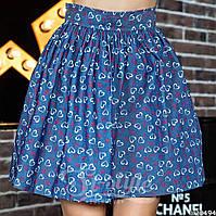 Женская джинсовая юбка-колокол с принтом