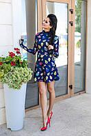 Синее короткое молодежное платье Матрешки.  Арт-8159/45