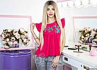 Стильная женская однотонная блузка с вышивкой