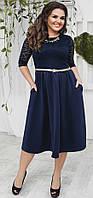 Изысканное женское платье миди приталенного фасона украешением и вставками гипюра дайвинг батал Турция