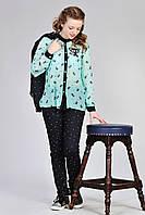Стильные весенние брюки на девочку с принтом, 146-158.