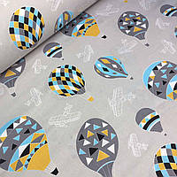 Хлопковая ткань с воздушными шарами на сером фоне №061