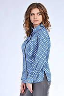 Модная женская синяя рубашка приталенного кроя, с принтом горошек