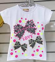 Детская футболка на девочку Белая Бантики 86/92 98/104 110/116 122/128
