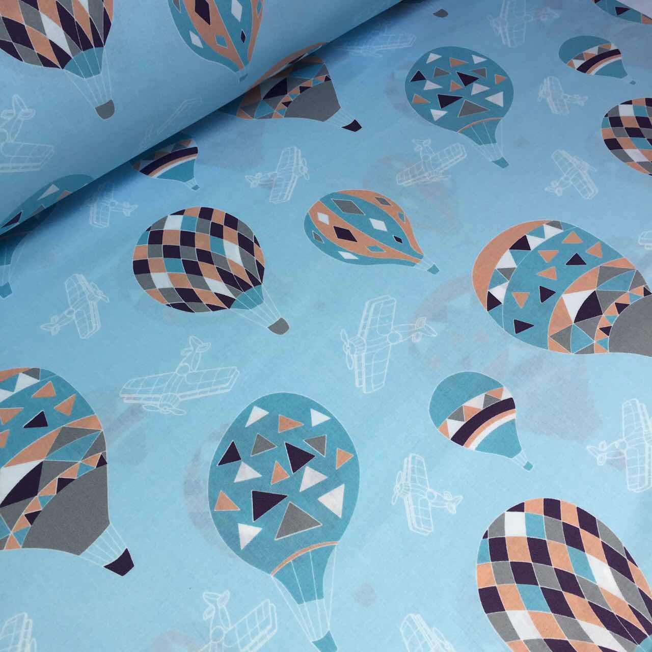 Хлопковая ткань премиум класса  с воздушными шарами на голубом фоне №2-593