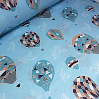 Хлопковая ткань с воздушными шарами на голубом фоне №062