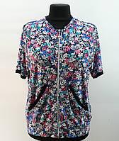 """Блузка """"Цветочек"""" на молнии с капюшоном, 50-60 размер 50"""