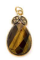 56006 Кулон из тигрового глаза Honey (Хани), 4 см длина. Вставки хрусталь.