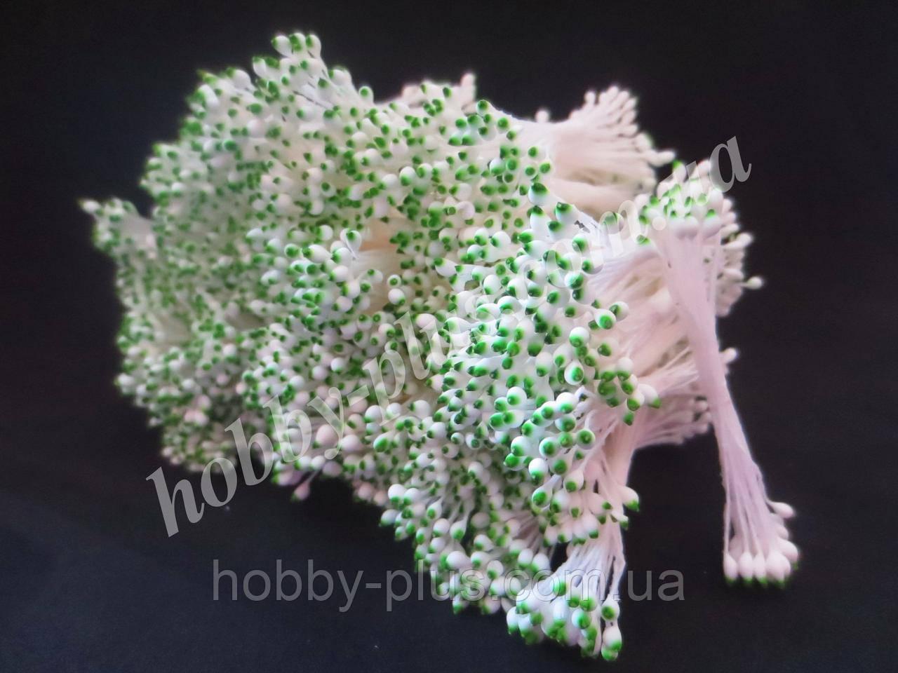 Тайские тычинки, БЕЛО-ЗЕЛЕНЫЕ, каплевидные на белой нити, 23-25 нитей, 50 головок