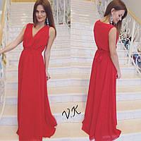 Платья в пол из шифона красное