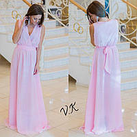 Шикарное женское платье в пол из шифона с пышной юбкой без рукавов бледно-розовое