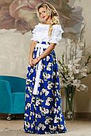Восхитительная женская юбка (лен, цветочный принт, широкий пояс, длина макси в пол) РАЗНЫЕ ЦВЕТА!