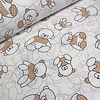Хлопковая ткань с мишками в светло-коричневых свитерах №065