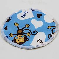 Лактационные многоразовые вкладыши для кормящих мам   обезьянки в голубом