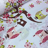 Ткань хлопковая с деревья сакуры и совы №068