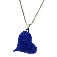 Цепочка с кулоном Сердце P000312 с синим стразами